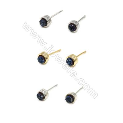 Natural Blue Druzy Agate with Brass Findings Earring Stud, (Silver, Gold, Platinum)Plated, Diameter 6mm, Pin 1mm, x10pcs/pack