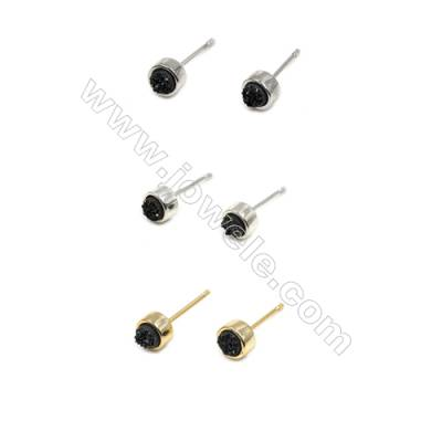 Natural Black Druzy Agate with Brass Findings Earring Stud, (Silver, Gold, Platinum)Plated, Diameter 6mm, Pin 1mm, x10pcs/pack