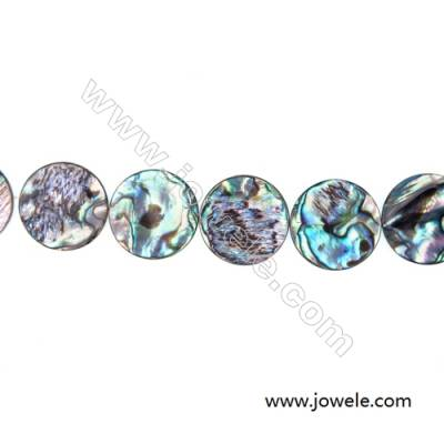 Abalone/Paua Shell Bead Strands, Flat-Round, Size 22 mm, Hole 0.7 mm, About 18 beads/strand, 15 ~ 16 ''