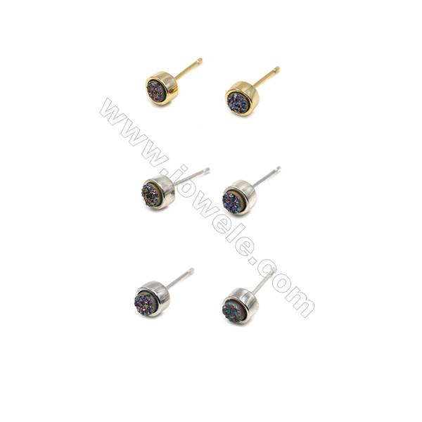 Brass Earring Studs with Multicolor Natural Druzy Agate, (Silver, Gold, Platinum)Plated, Diameter 6mm, Pin 1mm, x10pcs/pack