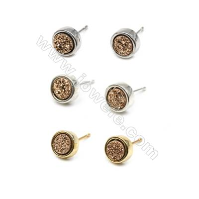 Natural Golden Druzy Agate with Brass Findings Earring Stud, (Silver, Gold, Platinum)Plated, Diameter 8mm, Pin 1mm, x10pcs/pack