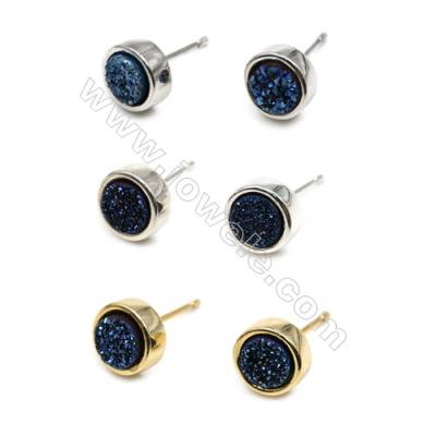 Natural Blue Druzy Agate with Brass Findings Earring Stud, (Silver, Gold, Platinum)Plated, Diameter 8mm, Pin 1mm, x10pcs/pack