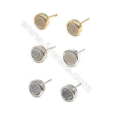 Natural White Druzy Agate with Brass Findings Earring Stud, (Silver, Gold, Platinum)Plated, Diameter 8mm, Pin 1mm, x10pcs/pack