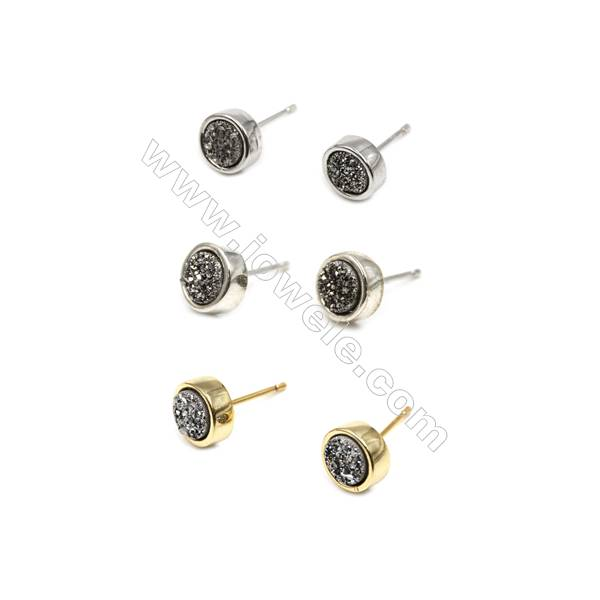 Natural Silver Druzy Agate with Brass Findings Earring Stud, (Silver, Gold, Platinum)Plated, Diameter 8mm, Pin 1mm, x10pcs/pack
