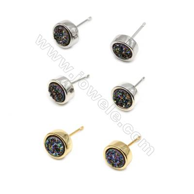 Brass Earring Studs with Multicolor Natural Druzy Agate, (Silver, Gold, Platinum)Plated, Diameter 8mm, Pin 1mm, x10pcs/pack