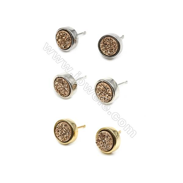 Brass Earring Studs with Golden Natural Druzy Agate, (Silver, Gold, Platinum)Plated, Diameter 10mm, Pin 1mm, x10pcs/pack