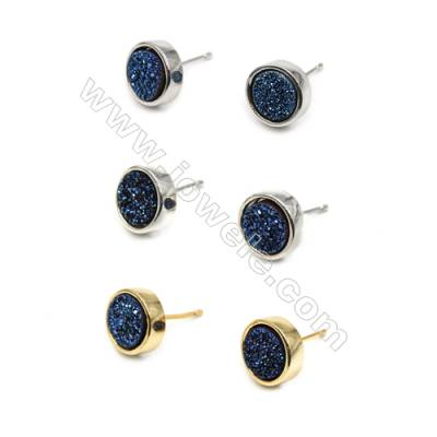 Natural Blue Druzy Agate  with Brass Findings Earring Stud  (Silver  Gold  Platinum)Plated  Diameter 10mm  Pin 1mm  x10pcs/pack