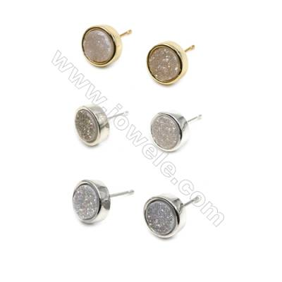 Natural White Druzy Agate with Brass Findings Earring Stud, (Silver, Gold, Platinum)Plated, Diameter 10mm, Pin 1mm, x10pcs/pack