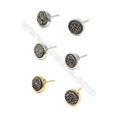 Brass Earring Studs with Silver Natural Druzy Agate, (Silver, Gold, Platinum)Plated, Diameter 10mm, Pin 1mm, x10pcs/pack