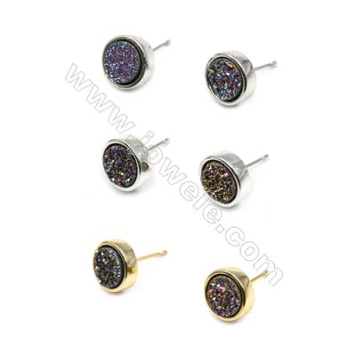 Brass Earring Studs with Multicolor Natural Druzy Agate, (Silver, Gold, Platinum)Plated, Diameter 10mm, Pin 1mm, x10pcs/pack