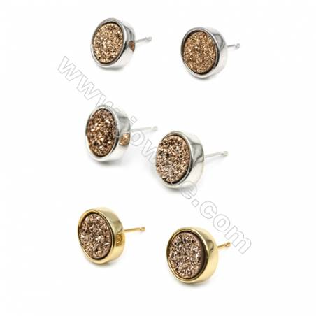 Brass Earring Studs with Golden Natural Druzy Agate, (Silver, Gold, Platinum)Plated, Diameter 12mm, Pin 1.1mm, x10pcs/pack