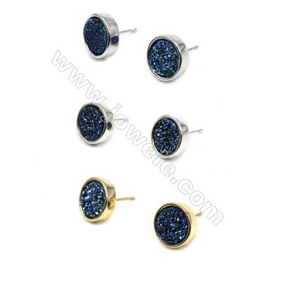 Brass Earring Studs with Blue Natural Druzy Agate, (Silver, Gold, Platinum)Plated, Diameter 12mm, Pin 1.1mm, x10pcs/pack