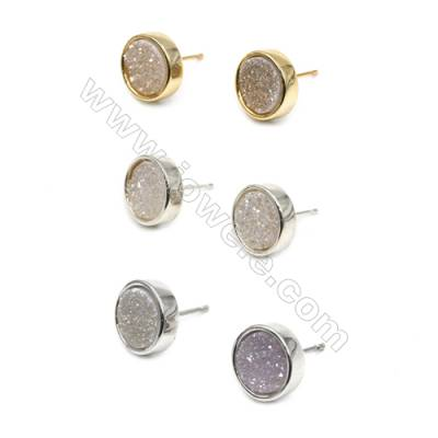 Brass Earring Studs with White Natural Druzy Agate, (Silver, Gold, Platinum)Plated, Diameter 12mm, Pin 1.1mm, x10pcs/pack