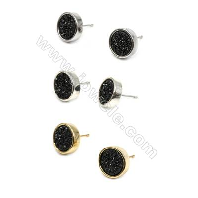 Brass Earring Studs with Black Natural Druzy Agate, (Silver, Gold, Platinum)Plated, Diameter 12mm, Pin 1.1mm, x10pcs/pack