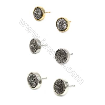 Brass Earring Studs with Silver Natural Druzy Agate, (Silver, Gold, Platinum)Plated, Diameter 12mm, Pin 1.1mm, x10pcs/pack