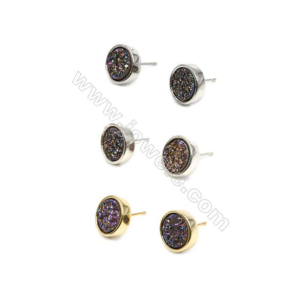 Brass Earring Studs with Multicolor Natural Druzy Agate, (Silver, Gold, Platinum)Plated, Diameter 12mm, Pin 1.1mm, x10pcs/pack