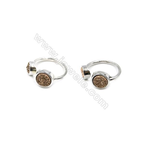 Brass Finger Rings with Golden Dyed Natural Druzy Agate, Adjustable, Inner diameter 18mm, 5pcs/pack