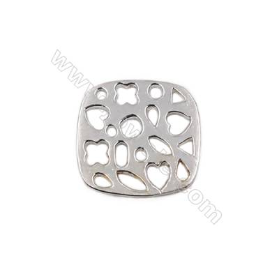Hollow square accessories sterling silver jewelry charms 13x13x0.7mm 20pcs/pack