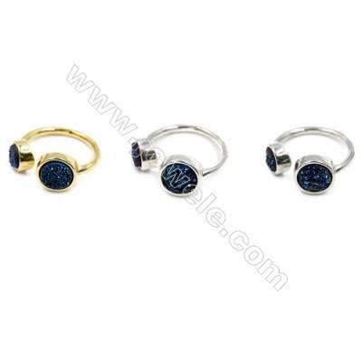 Brass Finger Rings with Blue Natural Druzy Agate, Adjustable, Inner diameter 18mm, 5pcs/pack