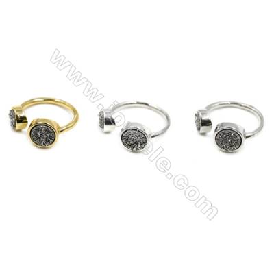 Brass Finger Rings with Silver Natural Druzy Agate, Adjustable, Inner diameter 18mm, 5pcs/pack