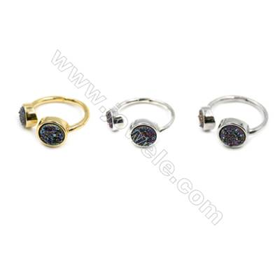 Brass Finger Rings, with Multicolor Natural Druzy Agate, Adjustable, Diameter 18mm, 5pcs/pack