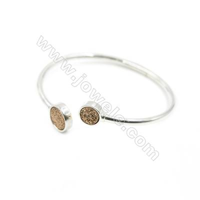 Brass Plated Silver Bracelet with Golden Dyed Natural Druzy Agate, Adjustable, Inner diameter 58mm, 3pcs/pack