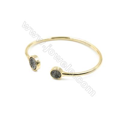 Brass Plated Gold Bracelet with Silver Dyed Natural Druzy Agate, Adjustable, Inner diameter 58mm, 4pcs/pack