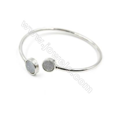 Brass Plated Platinum Bracelet with White Natural Druzy Agate, Adjustable, Inner diameter 58mm, 4pcs/pack