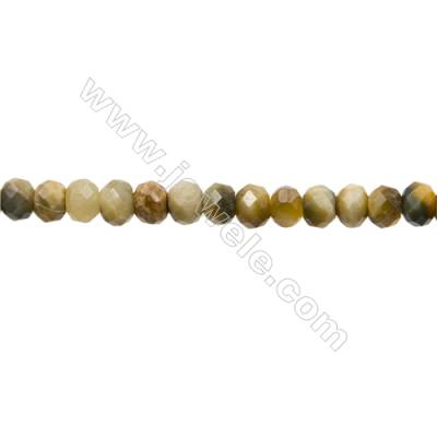 "Natural Golden Tiger's Eye and Gray Tiger's Eye Bead Strands  Dyed  Abacus(Faceted)  Size 4x6mm  Hole 1mm  15~16""/strand"