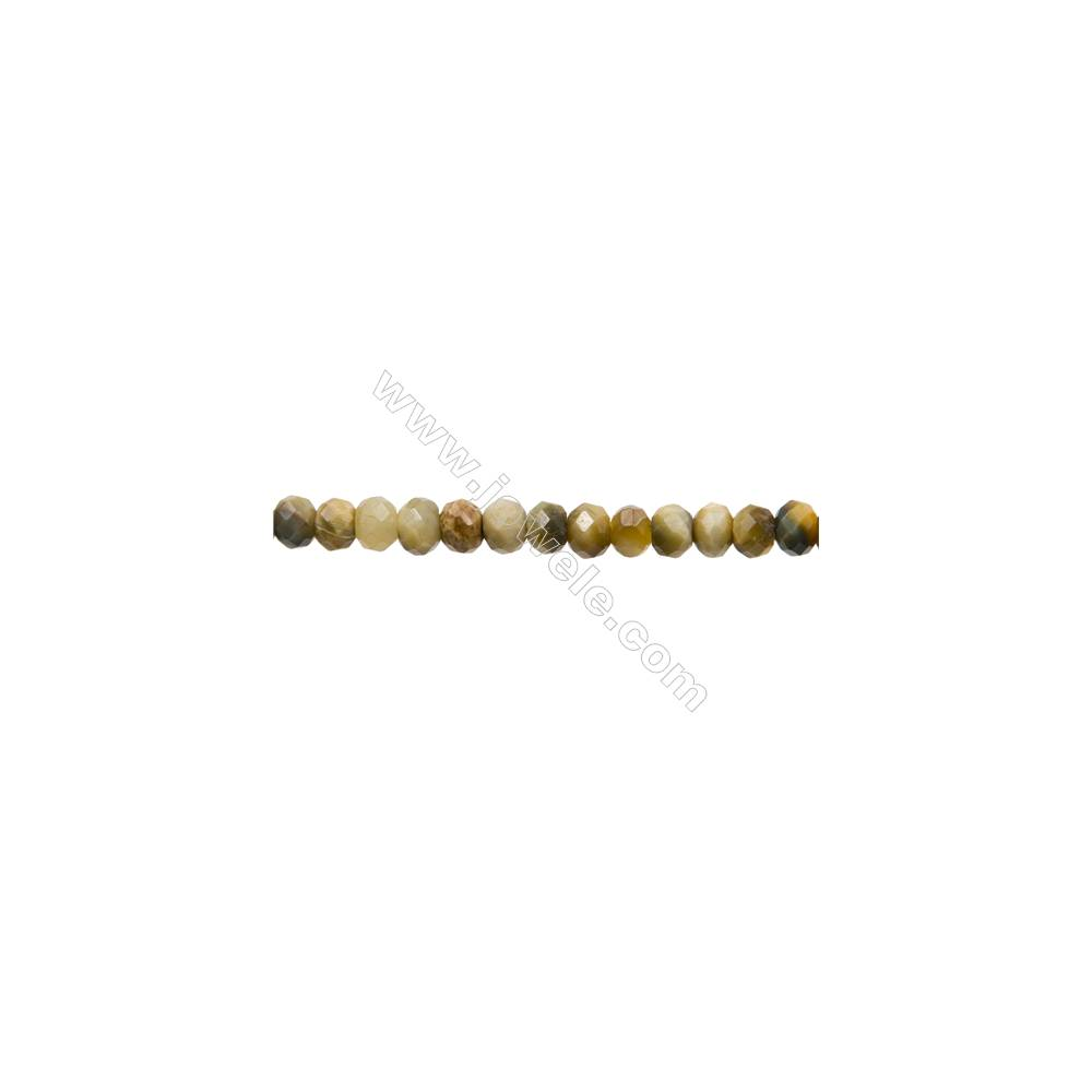 """Natural Golden Tiger's Eye and Gray Tiger's Eye Bead Strands  Dyed  Abacus(Faceted)  Size 4x6mm  Hole 1mm  15~16""""/strand"""