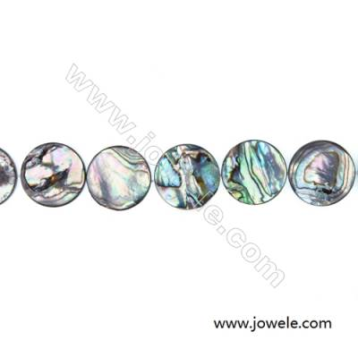 Abalone/Paua Shell Bead Strands, Flat Round, Diameter 20 mm, Hole 0.8 mm, About 20 beads/strand, 15 ~ 16 ""