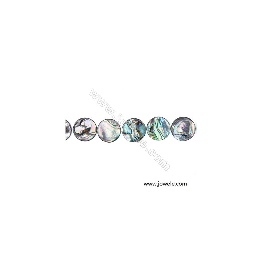 "Abalone/Paua Shell Bead Strands, Flat Round, Diameter 20 mm, Hole 0.8 mm, About 20 beads/strand, 15 ~ 16 """