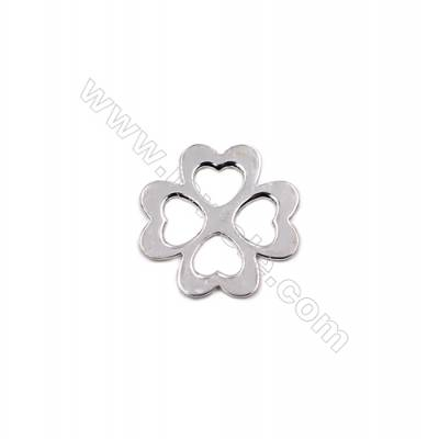 Hollow clover shape sterling silver charms for necklace bracelet making 13x13x0.6mm  30pcs/pack