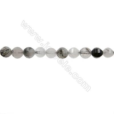 "Natural Rutile Quartz Bead Strands  Round(Faceted)  Diameter 8mm  Hole 1mm  15~16""/strand"