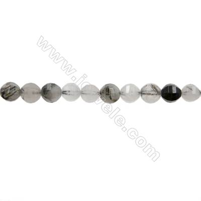 "Natural Rutile Quartz Bead Strands  Round(Faceted)  Diameter 8mm  Hole 1mm  15~16""/strand"