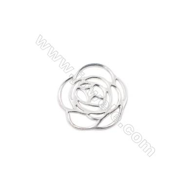 Hollow rose sterling silver charm for necklace pendant making 14x14x0.8mm  20pcs/pack