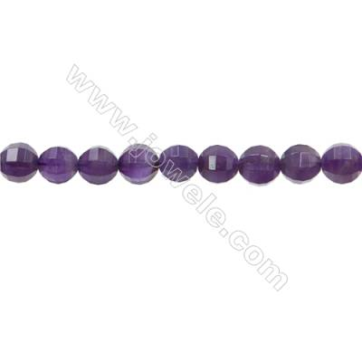 "Natural Amethyst Beads Strands  Round(Faceted)  Diameter 10mm  Hole 1mm  15~16""/strand"