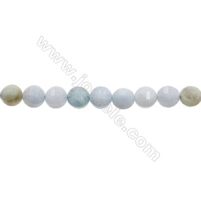 "Natural Aquamarine Beads Strands  Round(Faceted)  Diameter 10mm  Hole 1mm  15~16""/strand"