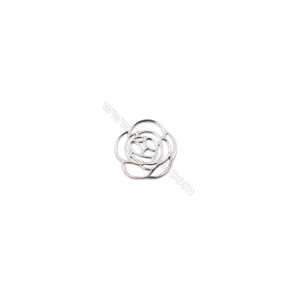 Sterling silver hollow rose jewelry charms -D06S5  size 19x19x0.7mm  20pcs/pack