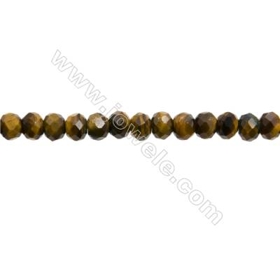 "Natural Yellow Tiger's Eye Beads Strands  Abacus(Faceted)  Size 4x6mm  Hole 1mm  15~16""/strand"