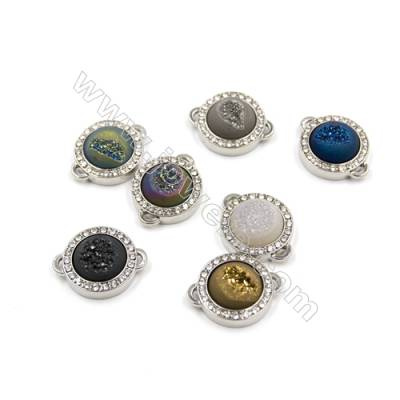 Electroplating Druzy Agate Connectors, with Zircon Brass Plated White Gold, Diameter 21mm, Hole 0.8x2.5mm, 5pcs/pack