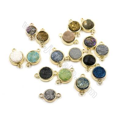 Dyed Round Electroplating Brass Natural Druzy Agate Connectors, plated gold, Diameter 12mm, Hole 1mm, Thick 4~8mm, 8pcs/pack