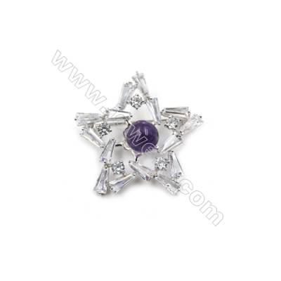 Brass Micro Pave Cubic Zirconia Brooch  White Gold  Star  38x39mm  Tray 9mm  Pin 0.8mm  x1pc can inlay half-drilled beads