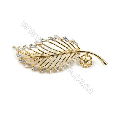 Brass Micro Pave Cubic Zirconia Brooch  Golden  Leaf  67x27mm  Tray 7mm  Pin 1mm  x1pc can inlay half-drilled beads