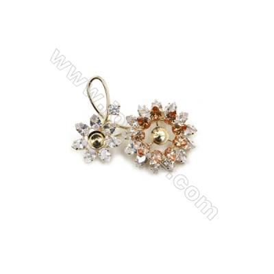 Brass Micro Pave Cubic Zirconia Brooch  Golden  Sunflower  55x43mm  Tray 8mm  Pin 0.8mm  x1pc can inlay half-drilled beads