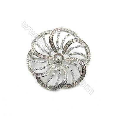 Brass Micro Pave Cubic Zirconia Brooch  White Gold  Flower  14x15mm  Tray 6mm  Pin 0.6mm  x1pc can inlay half-drilled beads
