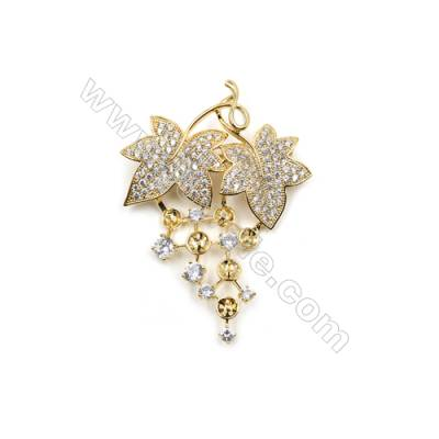 Brass Micro Pave Cubic Zirconia Brooch  Golden  Leaf  17x24mm  Tray 5mm  Pin 0.7mm  x1pc can inlay half-drilled beads