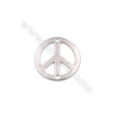 Hollow peace symbol sterling silver jewelry charms findings-D06S9  size 15x0.5mm hole 1mm 20pcs/pack