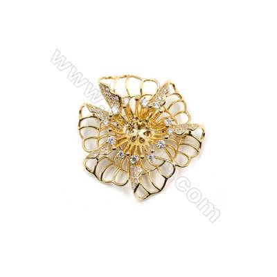 Brass Micro Pave Cubic Zirconia Brooch  Golden  Bloom  48x45mm  Tray 9mm  Pin 0.9mm  x1pc can inlay half-drilled beads