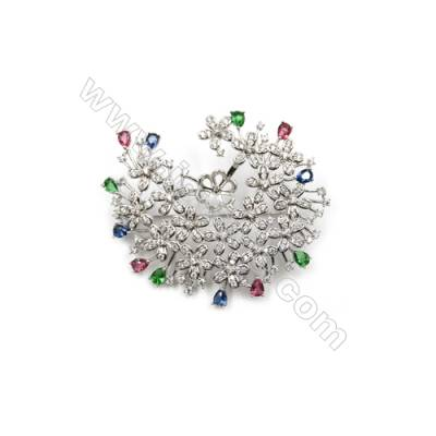 Brass Micro Pave Cubic Zirconia Brooch  White Gold  flower  42x51mm  Tray 8mm  Pin 0.7mm  x1pc can inlay half-drilled beads